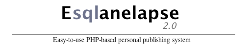 Esqlanelapse 2.6 -- Easy-to-use PHP-based personal publishing system